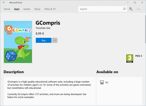 GCompris in Windows Store